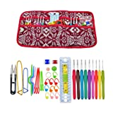 Senwow 38 Pieces Crochet Hooks Needles Set Multi-Colour Aluminium Knitting Kit Organizer Craft Tool Ergonomic Handles Yarn Knit Weave with Case (Red)