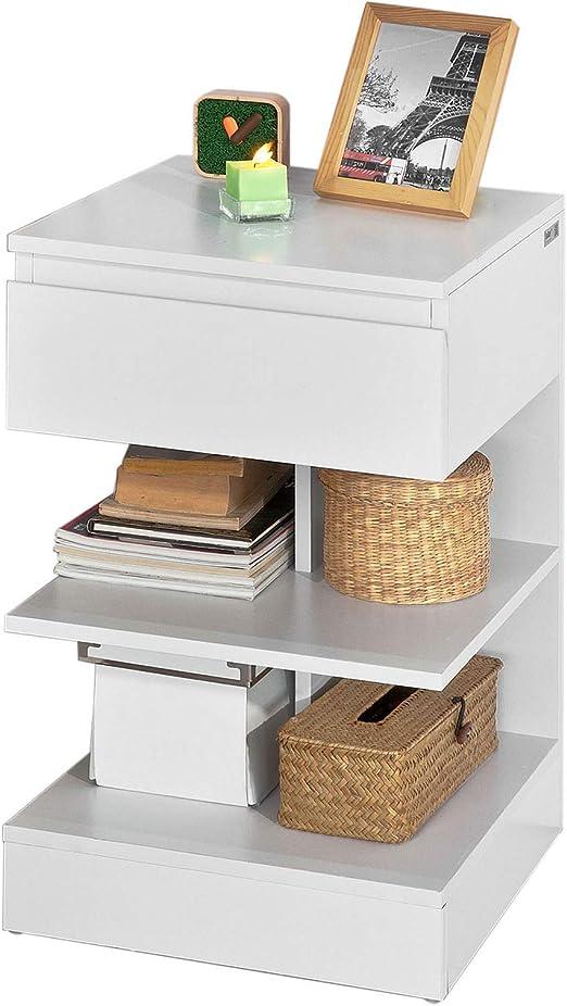 SoBuy® Mesita de Noche con 1 cajón y 2 estantes, Consola, Mesa ...