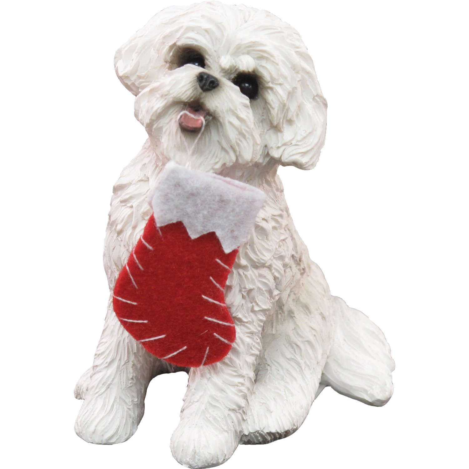 Sandicast Bichon Frise with Stocking Christmas Ornament
