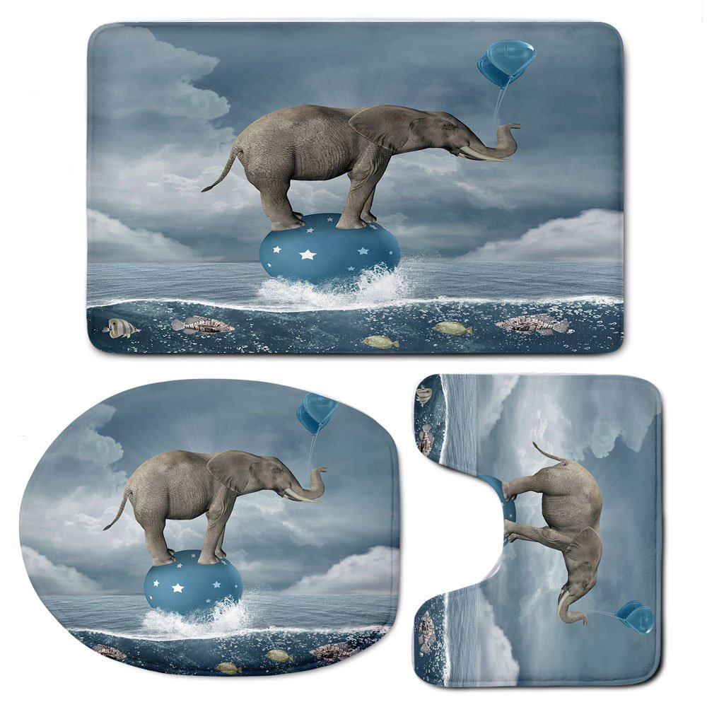 3 Piece Bath Mat Rug Set,Quirky-Decor,Bathroom Non-Slip Floor Mat,Elephant-with-Balloons-on-Sea-Fish-Fantasy-Circus-Animal-Balance-Surreal-Decorative,Pedestal Rug + Lid Toilet Cover + Bath Mat,Blue-Wh