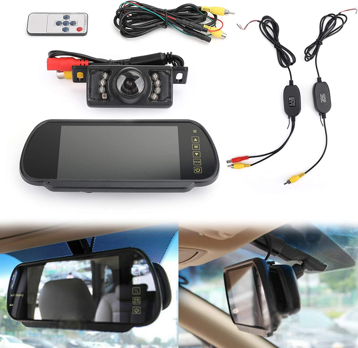 "Bruce & Shark 7"" Mirror Monitor Wireless Car Rear View Kit & IR Night Vision Rear View Camera"