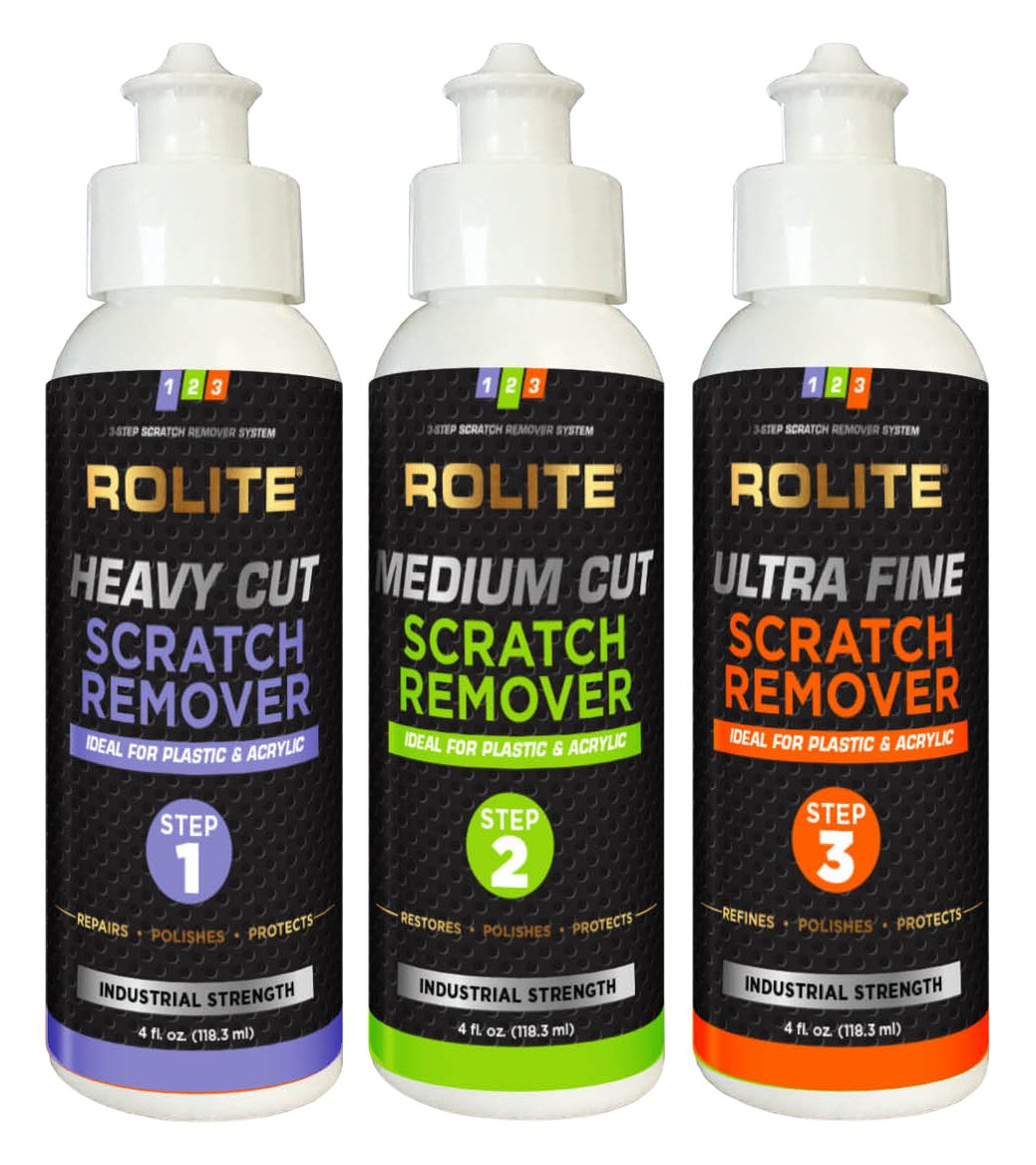 Rolite's 3 Step Scratch Removal System for Plastic & Acrylic (4 fl. oz.) with Heavy Cut, Medium Cut and Ultra Fine Combo Pack