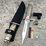 Serrated Blade 8.5 Inch Survival Knife Heavy Duty Stainless Steel with Kit & Sheath