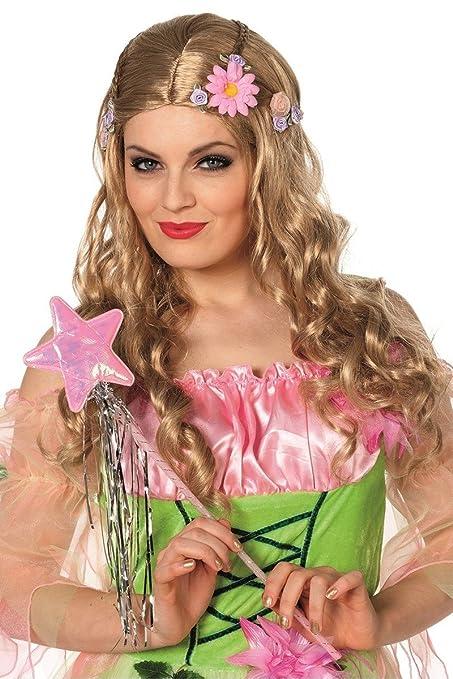 Diseño de hadas y Elfos hippie con flores de la peluca de la peluca de elfo: Amazon.es: Juguetes y juegos