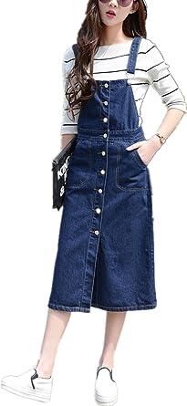 Skirt BL Women\'s Vintage Plus Size Blue Romper Denim Overall Jean Skirt  Dress
