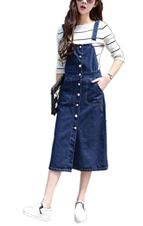 3f7981f941d Amazon.com  Skirt BL Women s Vintage Plus Size Blue Romper Denim ...