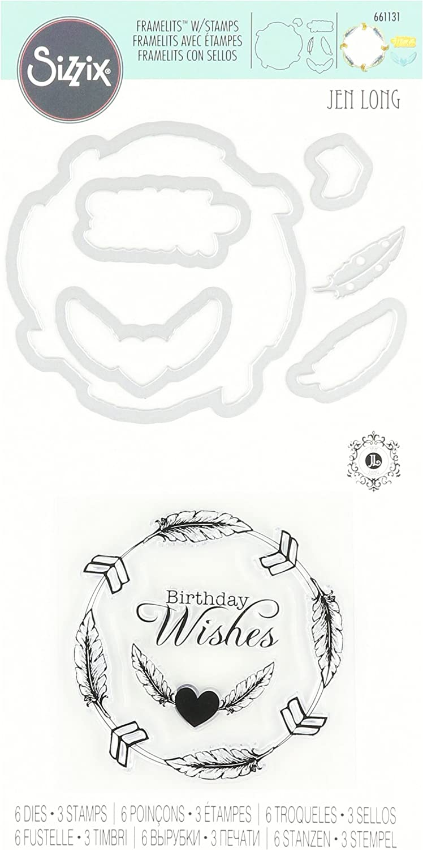 Sizzix Framelits Die Set 6PK w//Stamps Feather Wreath by Jen Long  661131