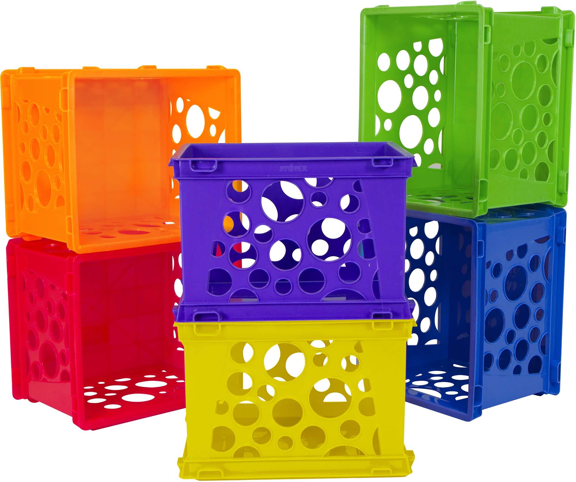 Storex Mini Crate, 9 x 7.75 x 6 Inches, Assorted Colors, 12-Pack (61474U12C) by Storex