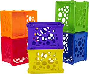 Storex Mini Crate, 9 x 7.75 x 6 Inches, Assorted Colors, 12-Pack (61474U12C)