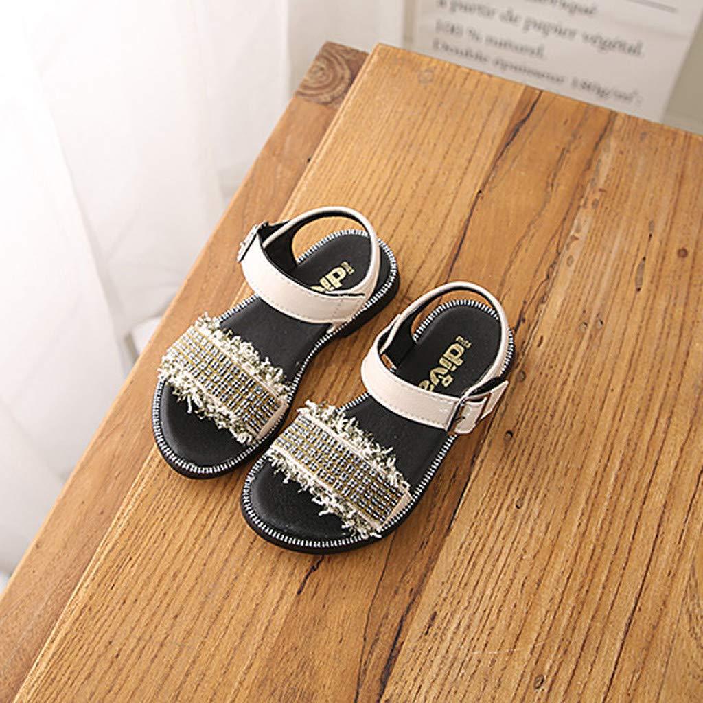 Cloudro Kids Little Girls Beach Sandals Sequins Ruffles Soft Sneaker for 3-12 Years