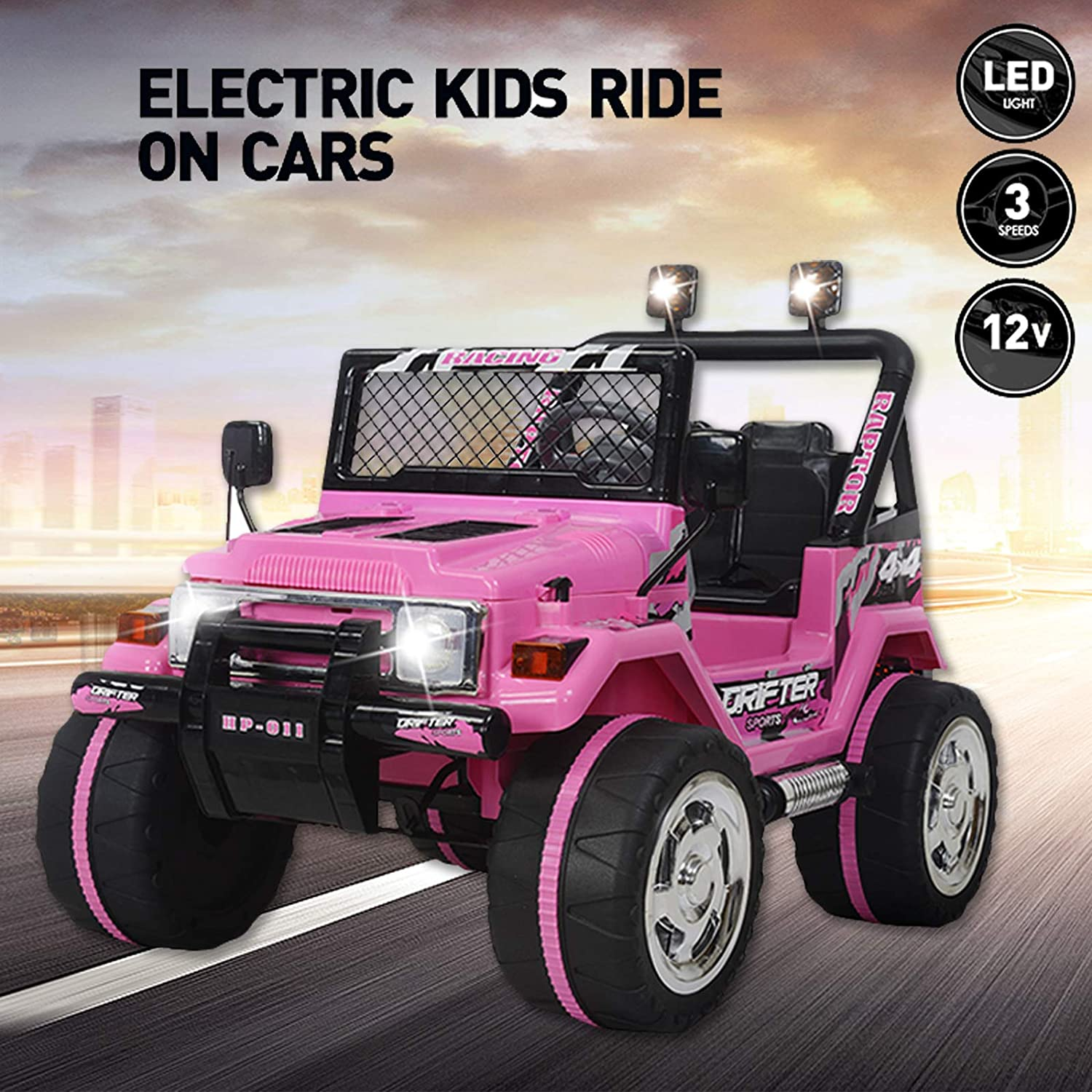 Cars For Kids >> Vosson Kids Car To Drive 12v Power Kids Jeep Car Kid Ride On Car With Lights Music Remote Control Childs Electric Car