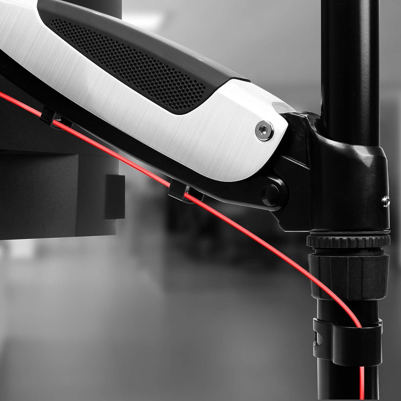 Duronic DM653 Support triple 3 /écrans PC pour bureau /à pince Hauteur ajustable Rotatif // Inclinable // P Ajustement omnidirectionnel /à la vol/ée gr/âce au m/écanisme /à gaz Rev/êtement en chrome