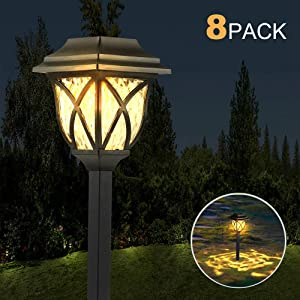 LANSGARINE 8 Pack Solar Pathway Lights Outdoor Waterproof,Solar Powered Garden Lights, LED Solar Yard Lighting for Landscape,Lawn, Patio, Walkway, Driveway(Warm White)
