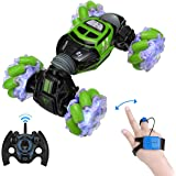 Powerextra RC Stunt Car, 4WD 2.4GHz Remote Control Car, Watch Gesture Sensor Car, Double Sided Rotating Off Road Vehicle…