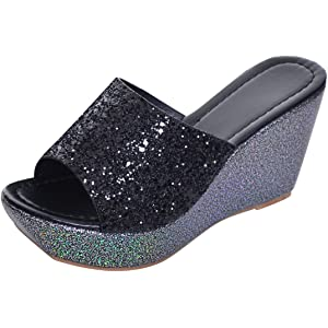 054ce994aea Yellow Tree Company Sequined Bling Women Wedges Slides Sandals