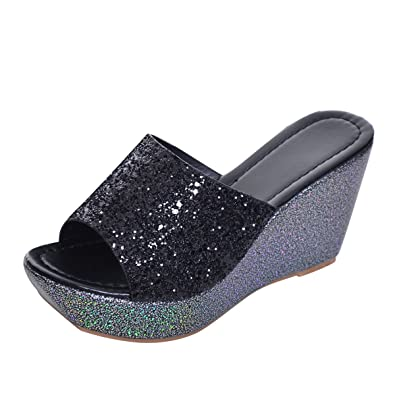 3310b215586e03 Yellow Tree Company Sequined Bling Women Wedges Slides Sandals