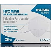 Hygisun beschermingsmasker FFP2 KN95, 20 stuks – maskers CE-gecontroleerd en -getest.