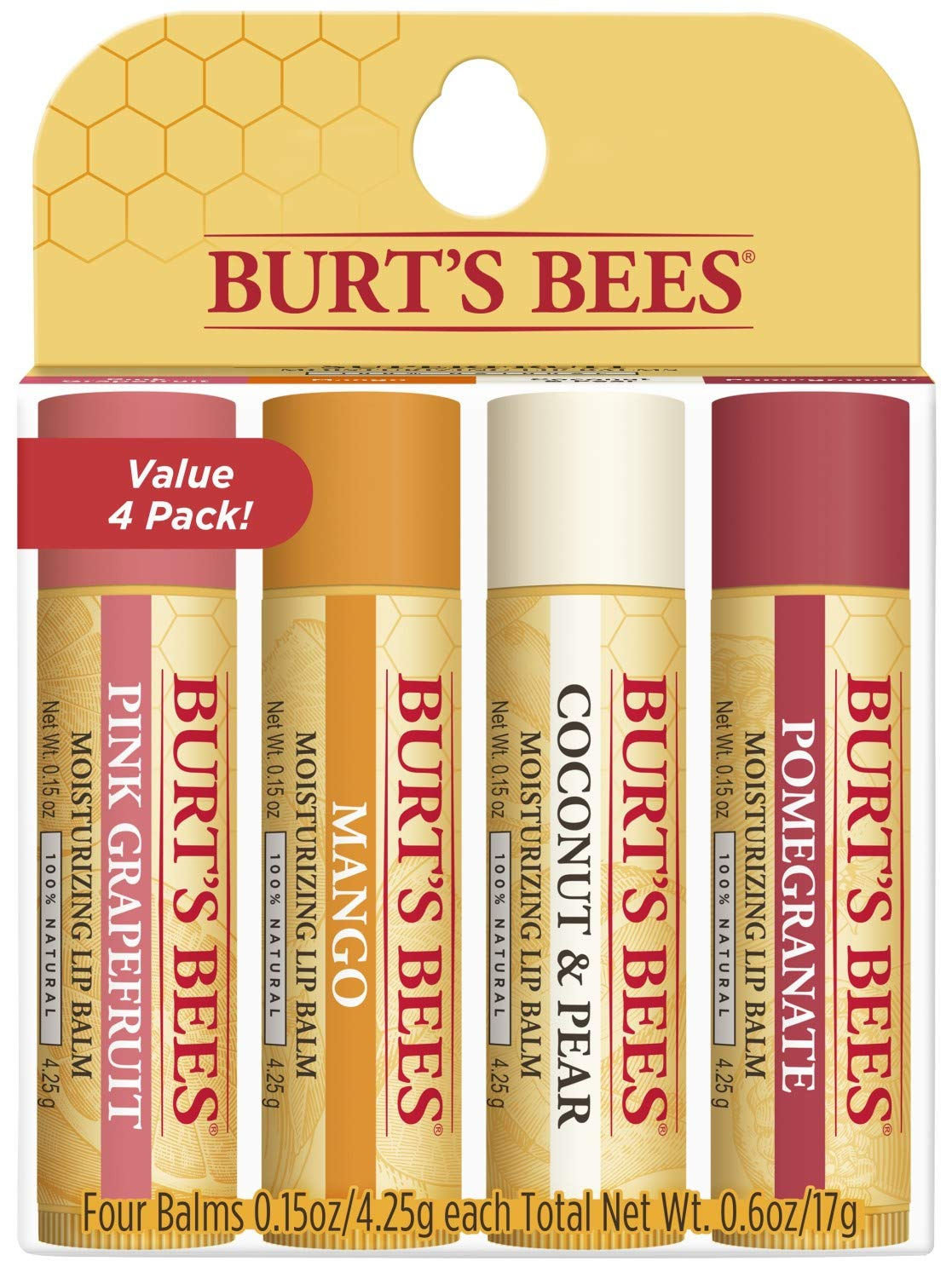 Burt's Bees 100% Natural Moisturizing Lip Balm, Superfruit - Pink Grapefruit, Mango, Coconut & Pear, Pomegranate - 4 Tubes : Beauty