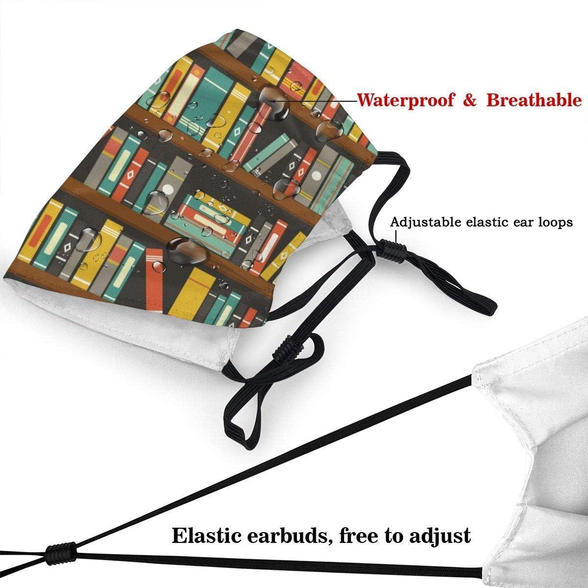 LongDD Cartoon Library Book Shelf Bookworm Reusable FaceBalaclava Washable Outdoor Nose Mouth Cover Fashion for Unisex Men Women