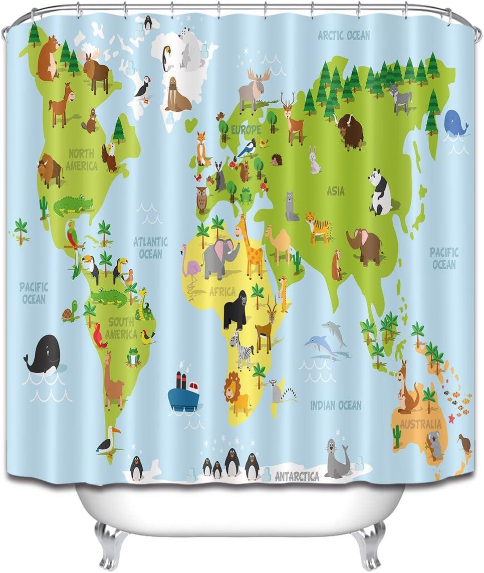 LB Cartoon World Map of Animals Oceans Stall Shower Curtain, Kids Global Map Decor for Bathroom, 59 W x 70 L Shower Curtain Set Waterproof