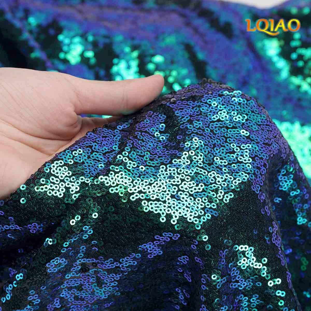 LQIAO W50xH84in Fluorescence Green Sequin Curtain Backdrop Sequin Photo Backdrop Ceremony Background Shimmer Sequin Backdrop Fabric/Curtain For Wedding/Home DIY-one pc, Hook 50x84in(125x220cm)) by LQIAO (Image #4)