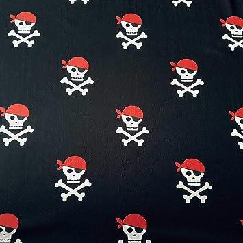 Tela de algodón por metros, jersey negro, blanco, rojo, calavera ...