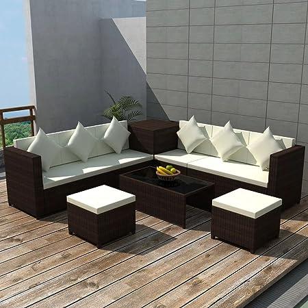 UnfadeMemory Juego de Sofás de Jardín Exterior con Cojines,1 Mesa de Centro+2 Sofás+1 Caja de Almacenamiento+2 Taburetes,Muebles de Jardín Terraza Balcón o Patio,Ratán Sintético (Marrón): Amazon.es: Hogar