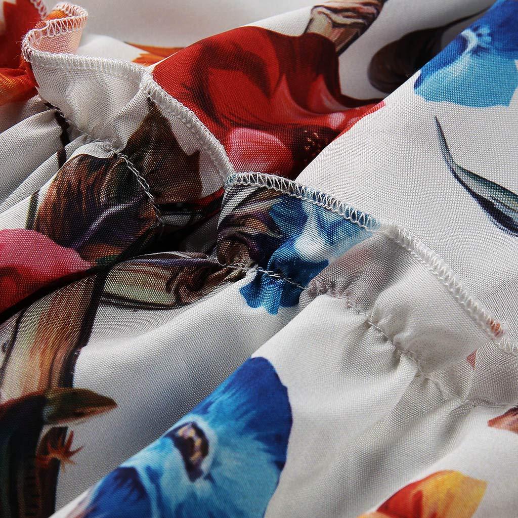 NREALY Vestido Womens Casual Summer Short Sleeve Print Maxi Tank Long Dress