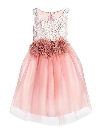 160aec62c63 Kid s Dream Little Girls Dusty Rose Floral Lace Tulle Flower Girl Dress 2