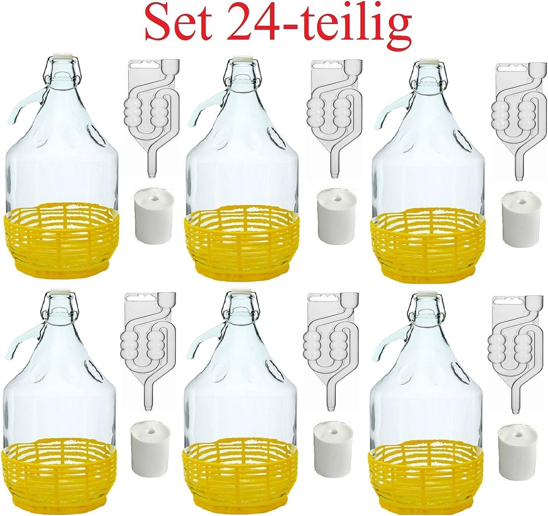 MultiDepot Juego de 24 Piezas bidones de fermentación + Tapones + Tubos de fermentación + Cierre de Estribo, 5 l, BDP5D
