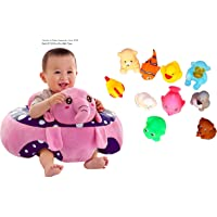 Besties Cotton Toddlers Training Seat Baby Safety Sofa Dining Chair/Learn to Sit Stool, 3-12 Months (Pink/Purple Elephant Sofa with Chu Chu Bath Toy)