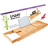 Luxury Bamboo Bathtub Caddy Bath Tub Tray with Extending Sides Built in Book Tablet Holder Cellphone Tray & Integrated Wineglass Holder and Other Accessories Placement