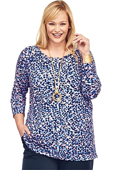 2fcce4cef4d46 Jessica London Women s Plus Size Pure Ease Printed Tunic - Rose Mist Navy  Abstract Animal