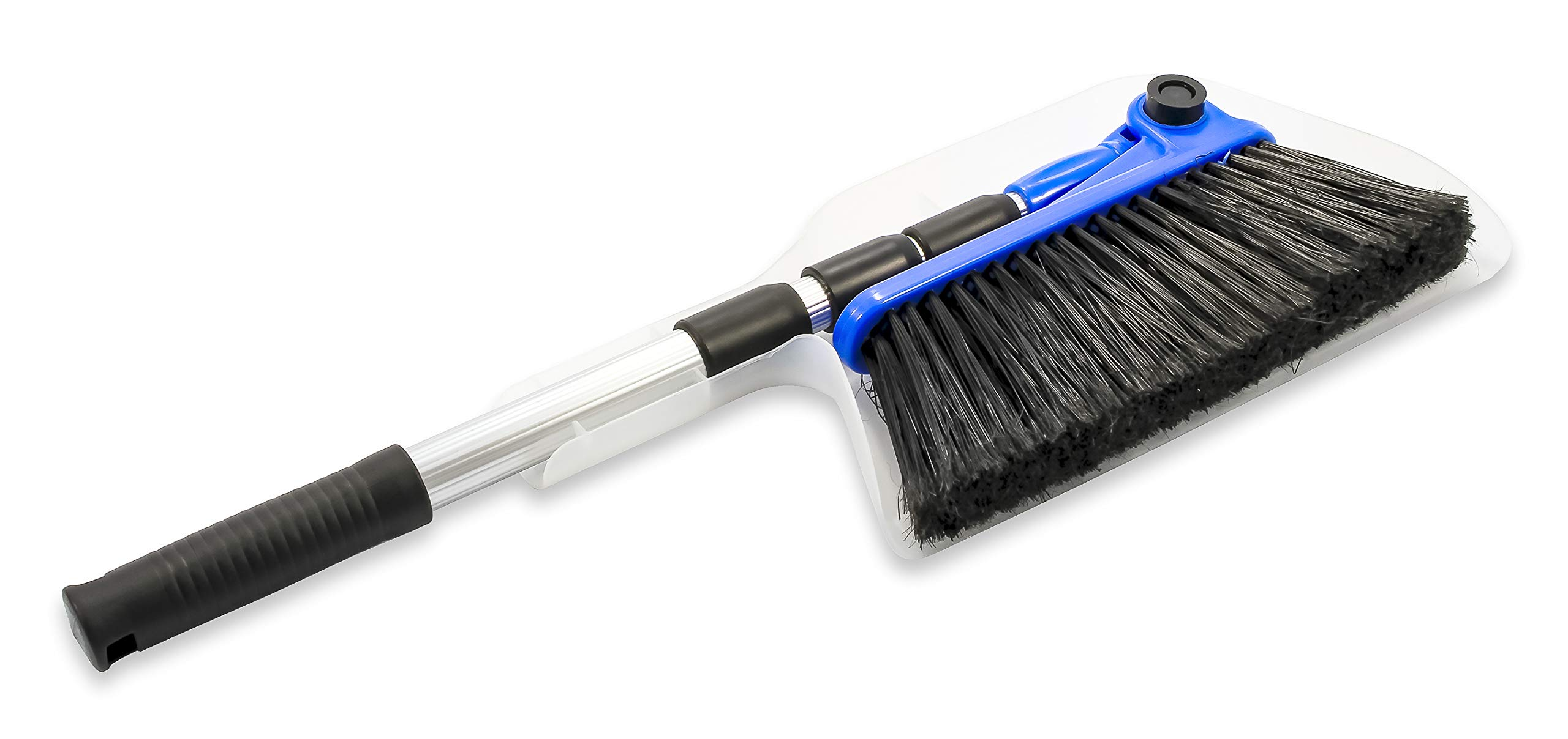 """Camco Mfg 43623 Adjustable RV Broom & Dustpan 2 Adjusts to different angles Dustpan clips onto broom handle for storage 52"""" long broom telescopes down to just 24"""" for compact storage"""