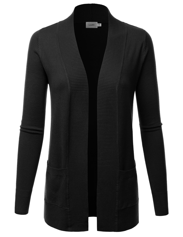 LALABEE Women's Open Front Pockets Knit Long Sleeve Sweater Cardigan-Black-L