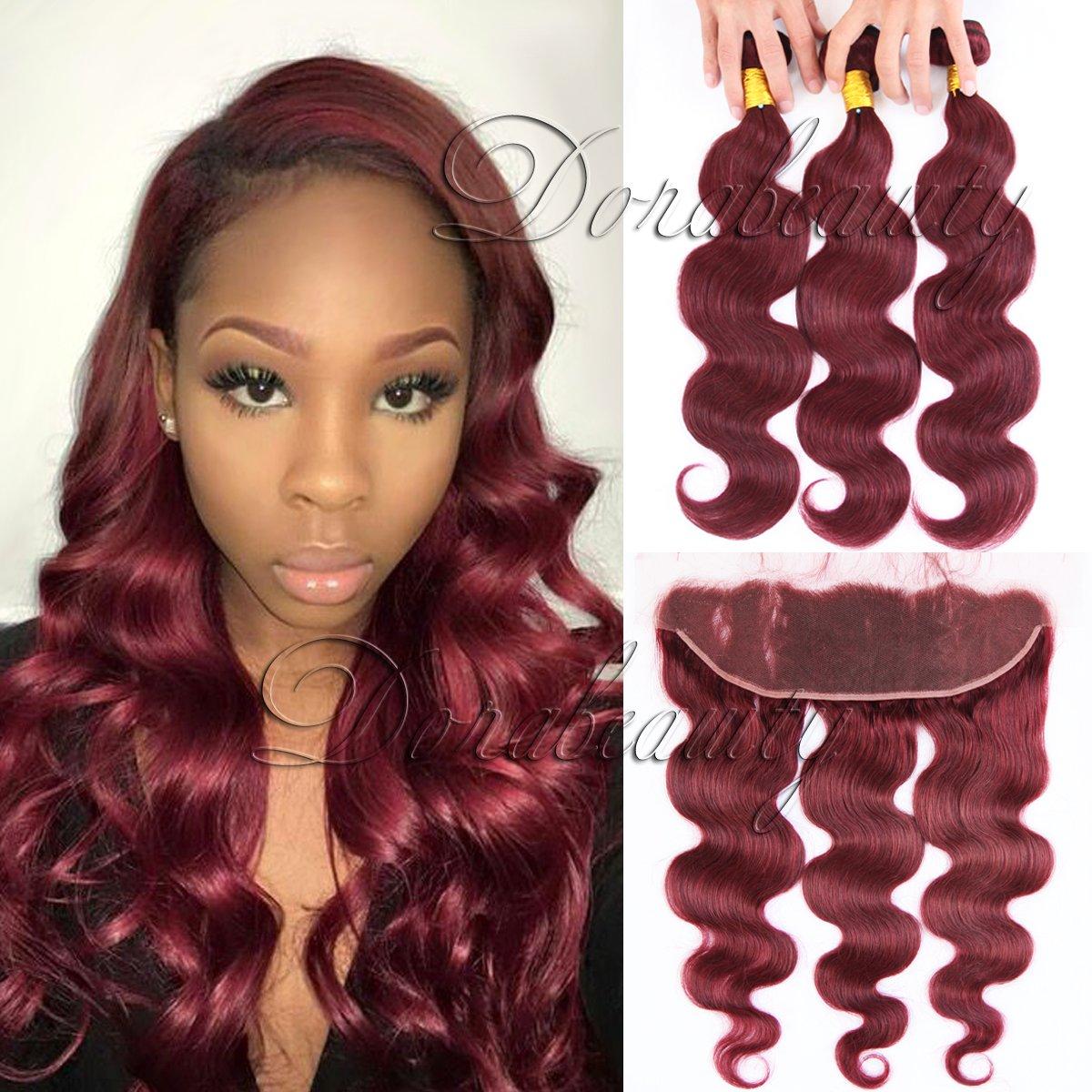 Amazon Dorabeauty 99j Burgundy Hair Bundles With 134 Pre
