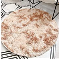 Beige Round Abstract Modern Soft Area Rugs for Living Room Bedroom Fluffy Shag Nursery Fur Rugs Home Decor Rugs for…