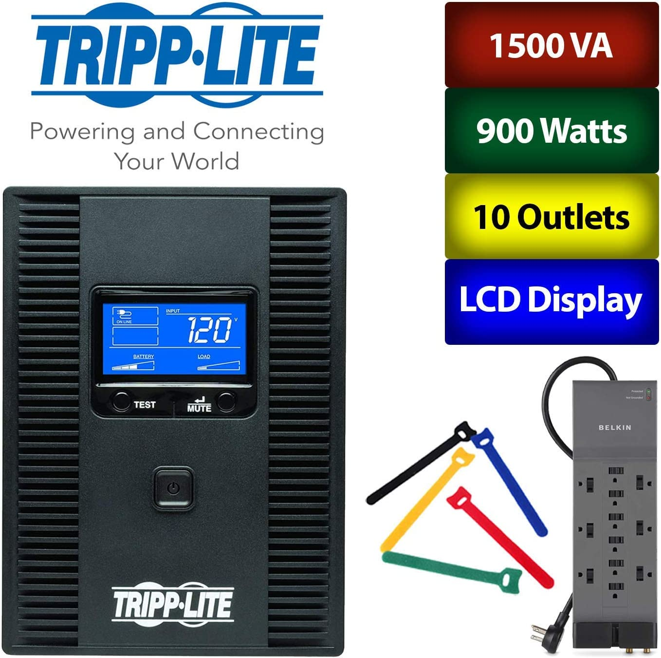 Tripp Lite 1500VA 900W UPS Battery Back Up LCD Display 10 Outlets 120V SMART1500LCDT Home Office Bundle with Wire Ties and Surge Protector 1-Pack AVR