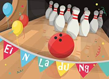 12 Einladungskarten Zum Kindergeburtstag Bowling