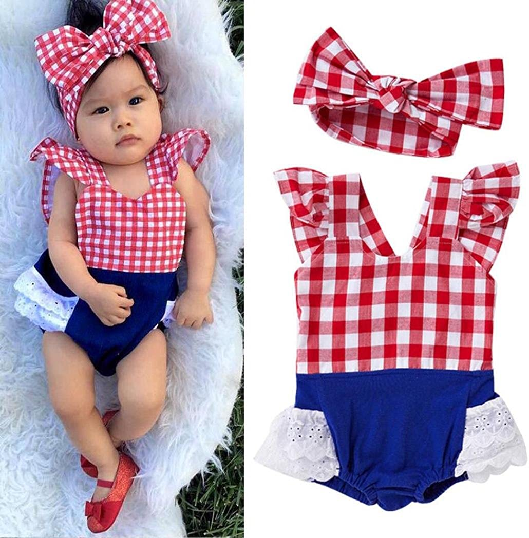 Matoen Kid Baby Girls Grid Print Sleeveless Romper+Headband Outfit Set