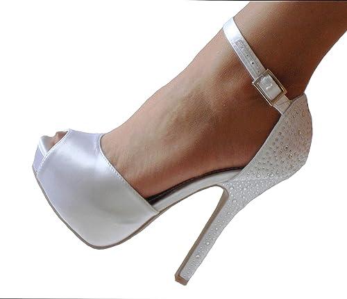 d85d46199 Lilana White Satin Rhinestone Crystals Platform Peep Toe Ankle Strap Pumps  Sandals Heels Shoes 8.5