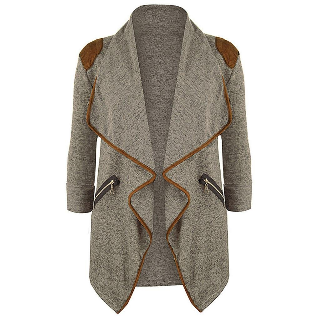 Sacow Womens Knitted Casual Long Sleeve Tops Cardigan Jacket Outwear Plus Size (3XL, Khaki)