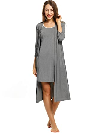 67c1bbf93a Pagacat Vintage Robes Sets for Women Slim Nightgown and Soft Knit Shower  Robe (Gray