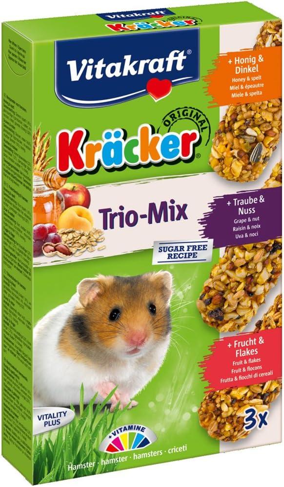 Vita Fuerza Kräcker Trio de mezclar, akku-knabber Barras para hámster con miel/nogal/fruta, 3barras