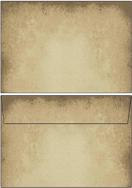 Briefumschläge MARMOR BEIGE 10 Stück DIN LANG ohne Fenster
