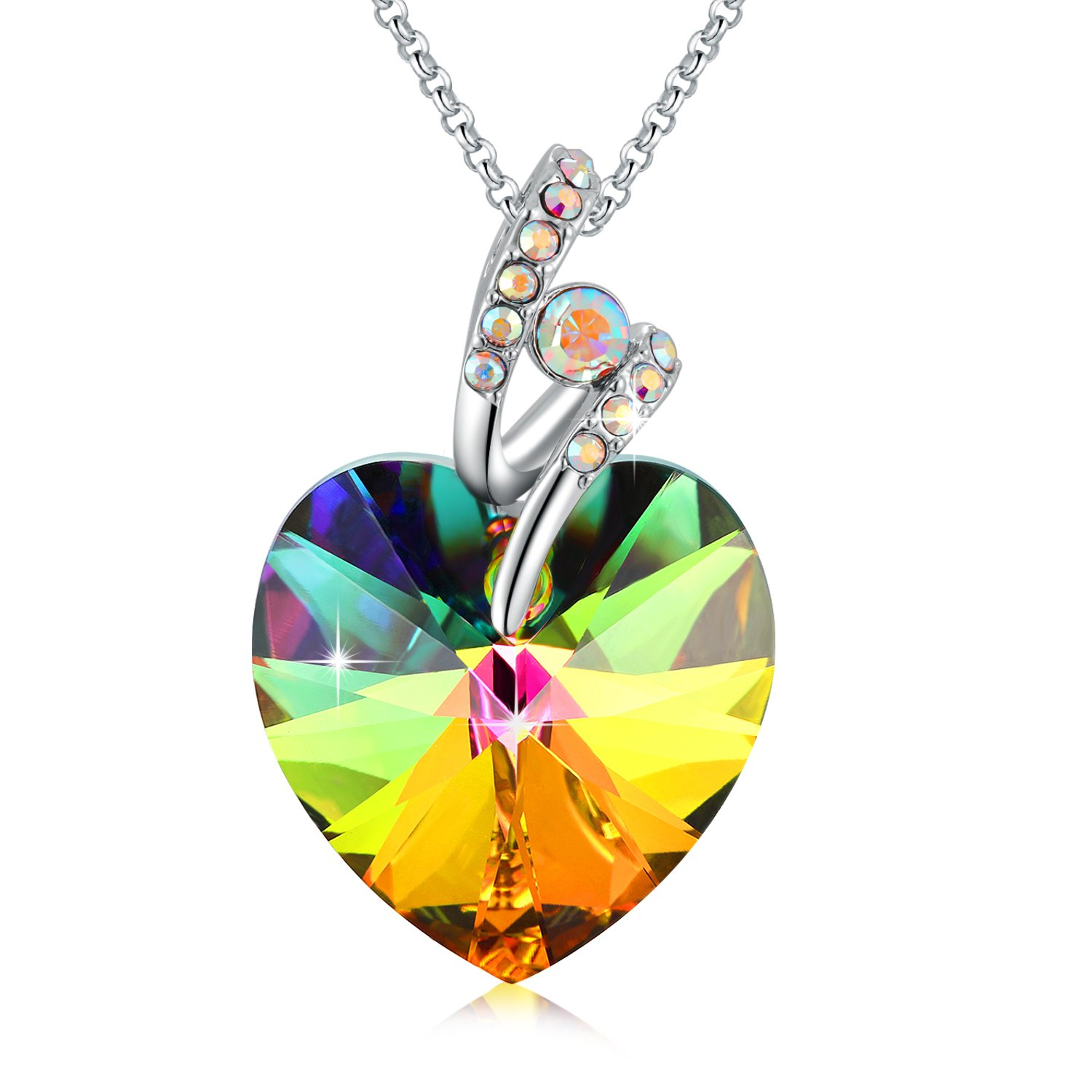 Color Changing Heart Shaped Necklace Rainbow Color Heart Earrings Birthstone Birthday Gifts SUE/'S SECRET Rainbow Heart Shaped Necklace//Earrings