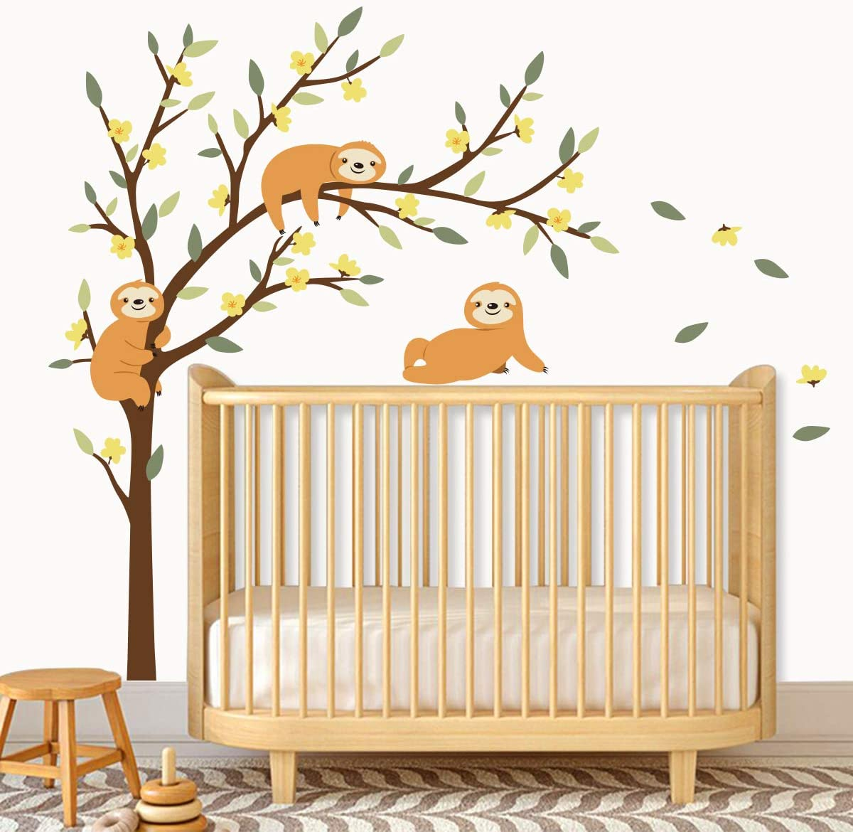 Amazon Com Decalmile Large Tree And Sloths Wall Decals Kids Wall Stickers Baby Nursery Childrens Bedroom Wall Decor Tree Size 46 Inches Kitchen Dining