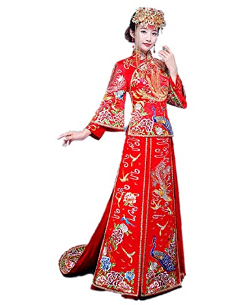 168da539a Amazon.com: Show Wo Dress Chinese Bridal costume Chinese wedding dress  Wedding cheongsam Tailing wedding dress Top.: Clothing