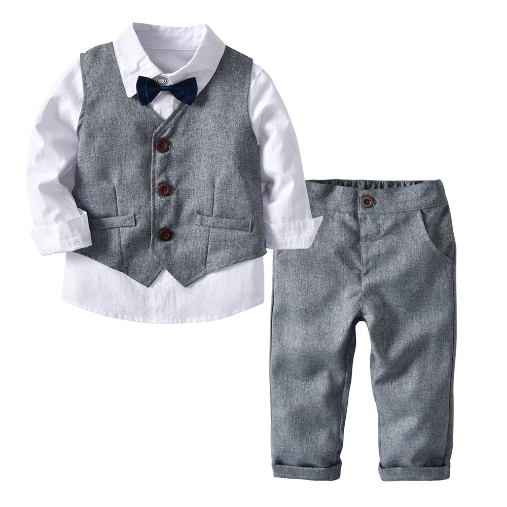 Fairy Baby Toddler Baby Boys 4pcs Formal Suit Outfit Clothes Shirt+Vest+Bow+Pant Set