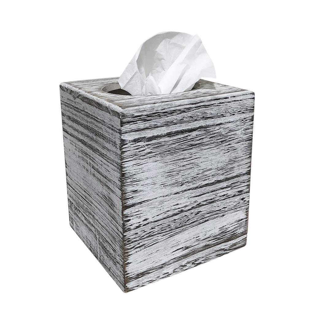 C60 COOPER White Weathered Wood Style Tissue Box Cover Square, Tissue Box Cover, Tissue Box Cover Holder - Paulownia Wood by C60 COOPER (Image #1)